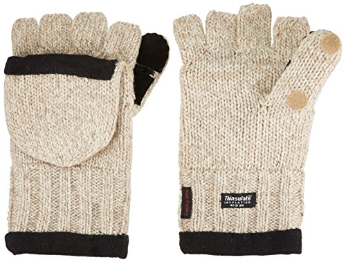 (Heat Factory Fleece-Lined Ragg Wool Gloves with Fold-Back Finger Caps and Hand Heat Warmer Pockets, Men's)