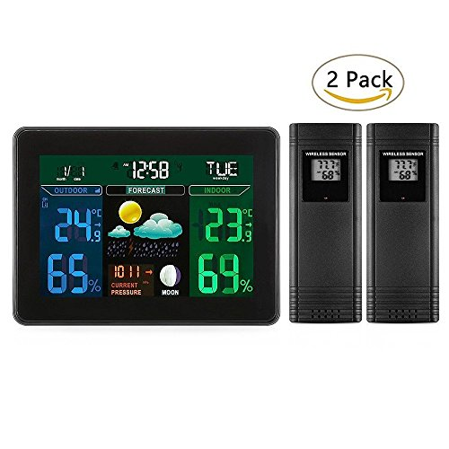 Joyhero Digital Wireless LCD Weather Station Displays Forecast with 2 Indoor/Outdoor Remote Temperature/Humidity (Multiple Temperature Sensors)