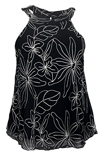 EVogues Plus size Floral Embroidery Halter Top Black - 1X