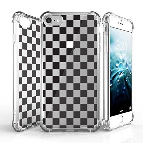 iPhone 7 Case, DuroCase AquaFlex 4 Corner Shockproof TPU Bumper w/ Hard Plastic Back Shield 2in1 Hybrid Case (Clear) For Apple iPhone 7 - (Black White Checker)