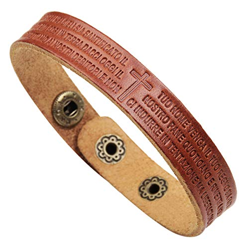 WD Jewelry Trendy Scripture Men's Leather Bracelet Cross Italian Words - (Color: Brown) -
