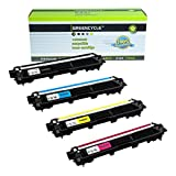 GREENCYCLE Black & Color Toner Cartridges (4 Pack) Compatible with Brother TN221 & TN225; compatible with Brother HL-3140CW, HL-3170CDW, MFC-9130, MFC-9330, MFC-9340 Printers