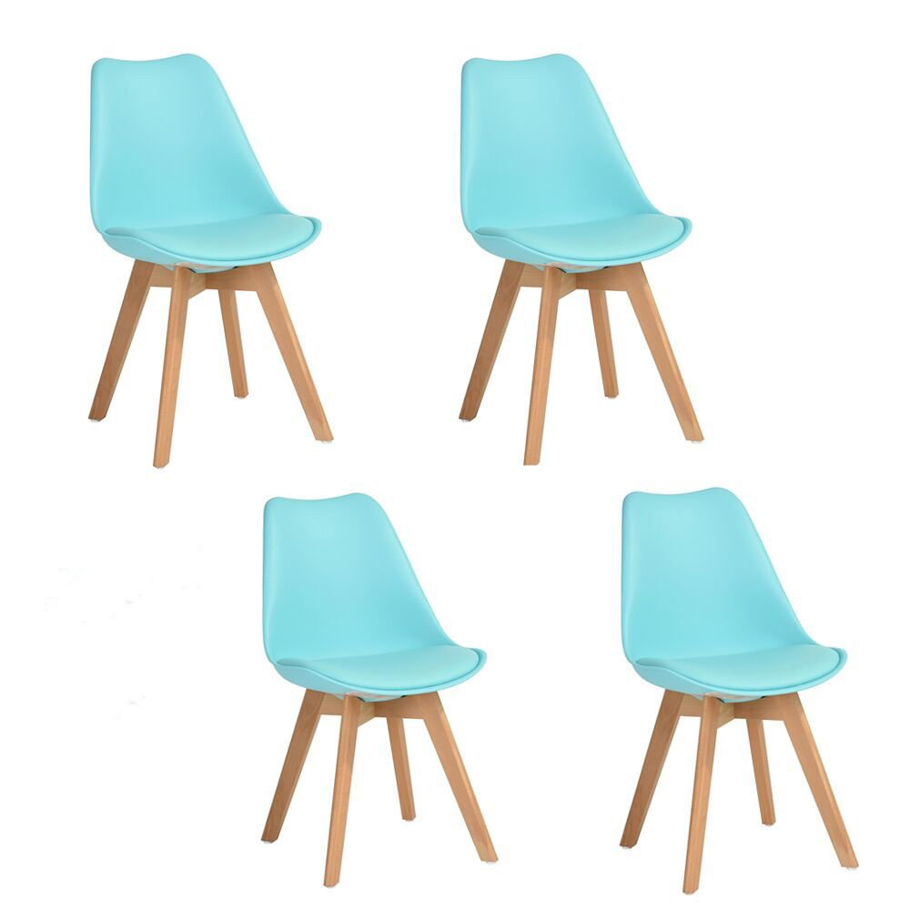 Homy Casa Set of 4 Eames Style Dining Chairs Modern Living Room Chairs for Kitchen Dining Room (White) (Aqua) Homy Casa Inc.
