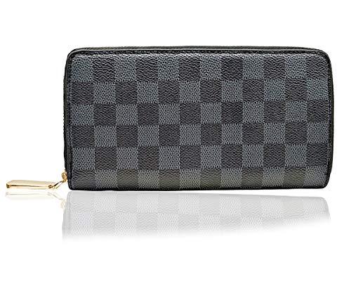 (Lopade Checkered Zip Around Wallet RFID Blocking Plaid Long Purse Card Holder Organizer for Women 8001 Black )