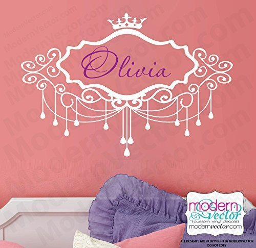 Personalized Chandelier Crown Vinyl Wall Decal