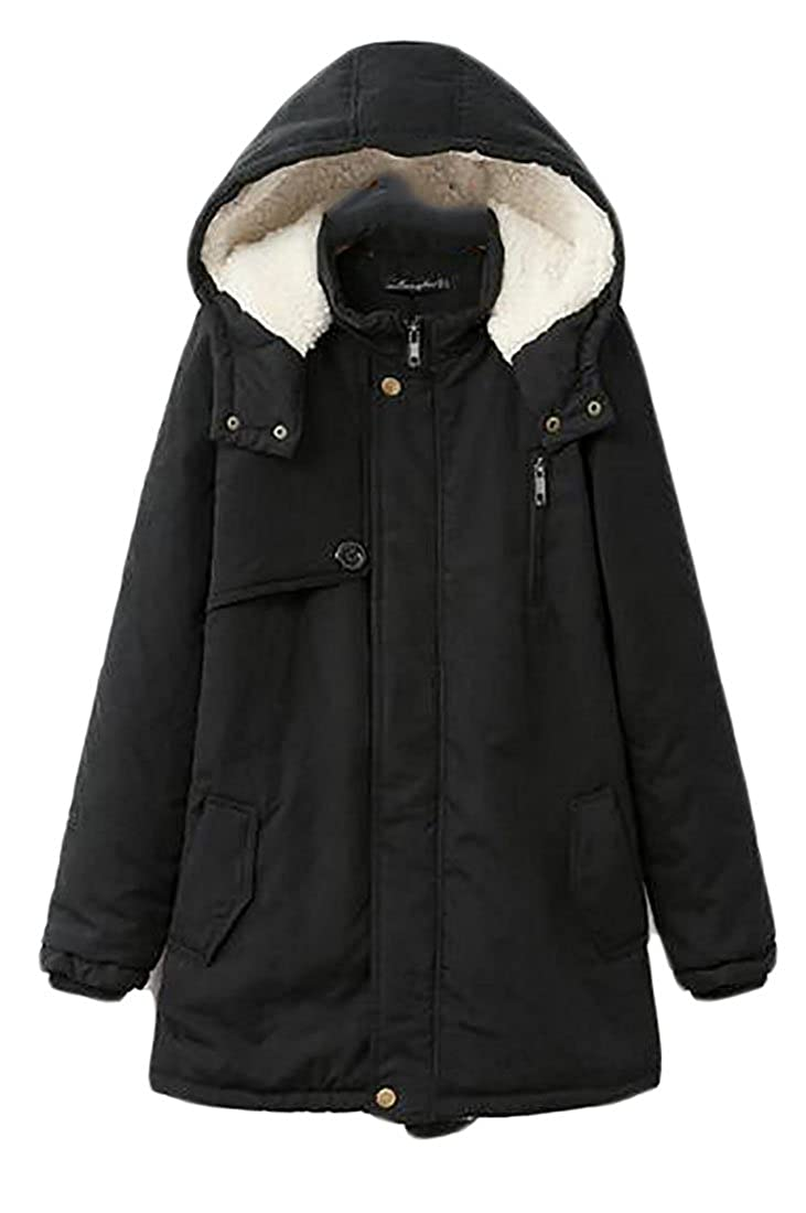Pivaconis Women's Winter Thick Fleece-Lined Plus Size Parkas Jackets Coat