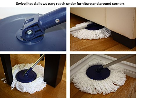 Twist and Shout Mop - The Original Hand Push Spin Mop - (2 Microfiber Mopheads Included)