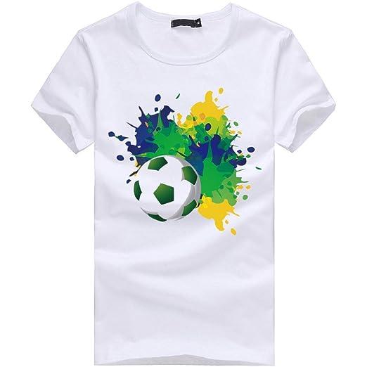LuckyGirls Camisetas Hombre Manga Corta Originales 3D Estampado de Fútbol Verano Moda Blanco Polos Personalidad Casual Remera Slim Camisas para Copa Mundial ...