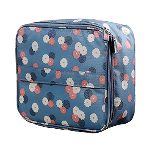 Xiton 1 PC Handheld Travel Cosmetic Bag Portable Makeup Bag Waterproof Wash Bag Beauty Tool Container Organizer Box (Blue Daisy)