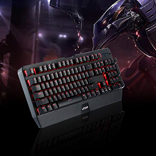 E.I.H. Keyboard LESHP Long Life Wired USB Monochrome Red LED Backlight Luminescent Multimedia Mechanical Game Keyboard for Gaming Office by E.I.H. (Image #2)