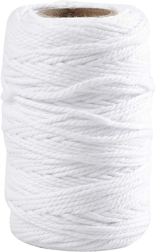 Cordón de algodón, grosor 1,1 mm, blanco, 50m: Amazon.es: Hogar