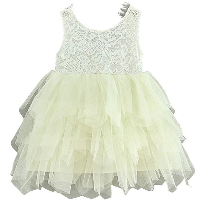 b642e32e75 Niyage Toddler Girls Lace Backless Tulle Tutus Princess Party Flowergirl  Dress 2T Beige