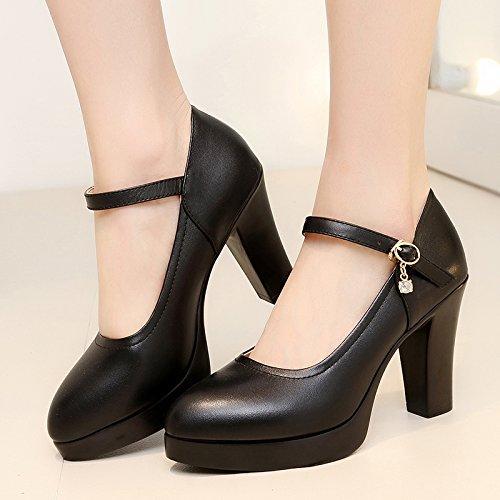 ranurado negro high con 34 solo zapatos alto grueso chica con Zapatos de tacón 8cm modelo de heels mujer Amarre alto impermeables TBdqOxnT