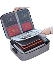 Waterproof Document Bag,ShowTop 3-Layer Document Storage Bag with Password Lock,A4 Letter Size Document Holder,Filing Pouch File Pocket Organizer for Passport,Legal Documents,Files,Valuables