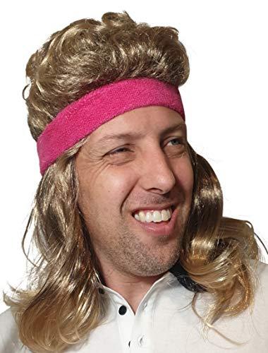 HandinHandCreations Mullet Wig 80s Vintage Rocker Long Blonde Brown Party Tennis Costume Pink Headband Included