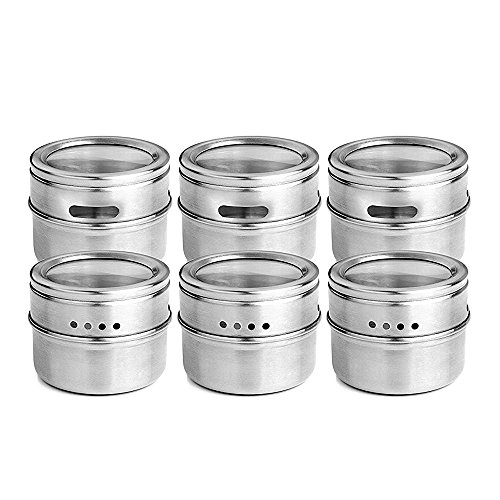 Plainmarsh Spice Jar 6 Set, Magnetic Stainless Steel Spice Tins Spice Rack Organizer Condiment Container Set,Clear Top Lid & Sift-Pour Pack of 6