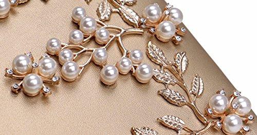 bolso la europea de banquetes muñeca bolsa de flor americana Blanco y de De Bolso Gules señora moda XJTNLB dama la 6wx8EFq6