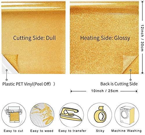 Glitter Vinyl Iron On Heat Transfer Silver Gold,HTV Pattern Vinyl Bundle Leopard 8 Sheets(10\