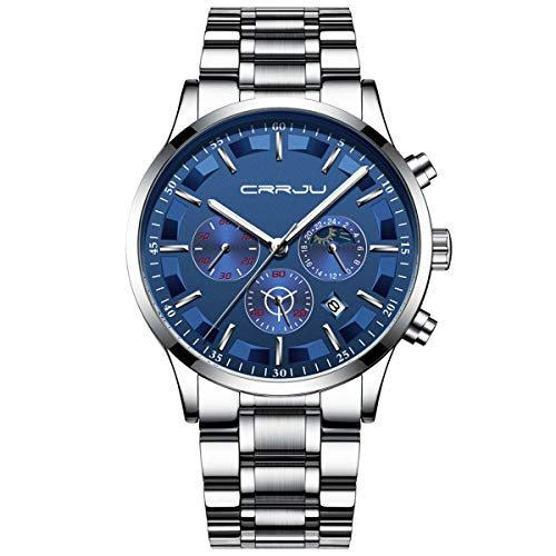 - Mens Watches Waterproof Stainless Steel Sport Analogue Quartz Watch Men Business Casual Chronograph Date Moon Phase Military Wrist Watch - Silver Blue