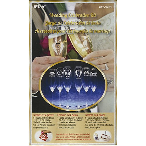 Armour Products Rub N Etch Wedding Celebration Designer Stencils (3 Pack), 5 x ()