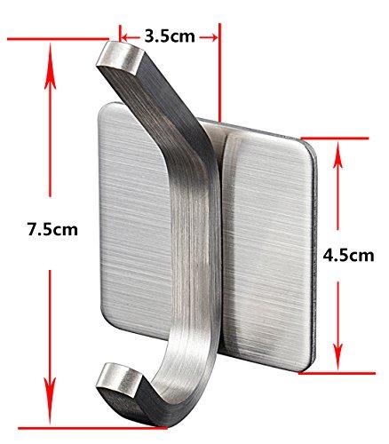 YIGII Towel Hook/3M Hooks - Adhesive Hooks Bathroom Wall Hooks Bath Show Robe Hook Self Adhesive Coat Hook Stick on Wall Stainless Steel Brushed 4-Pack by YIGII (Image #5)
