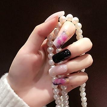 Amazon Com Shiny Milk White Black Acrylic Nails For Fingers Long