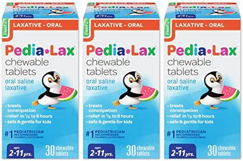 Pedia-Lax Oral Saline Laxative   Gentle & Safe Constipation Relief for Kids   Watermelon Flavor   30 Chewable Tablets   Pack of 3