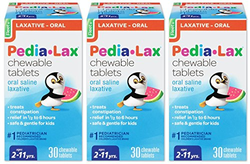 Pedia-Lax Oral Saline Laxative | Gentle & Safe Constipation Relief for Kids | Watermelon Flavor | 30 Chewable Tablets | Pack of - Tablets Chewable Children