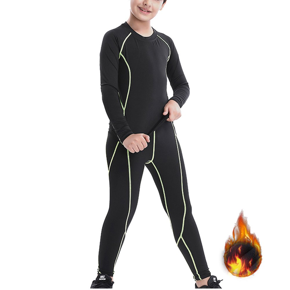 Minghe Boys's Fleece Lined Long Johns 2 pcs Thermal Underwear Top and Bottom Set Green 14