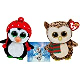"""Ty Beanie Boos WISE Owl with Scarf and FREEZE Penguin with Knit Hat 6"""" Set of 2 Winter Holiday Christmas 2015 toys with Bonus Frozen Olaf Sticker"""