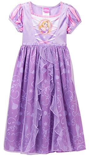 Disney Princess Rapunzel Girls Fantasy Gown Nightgown (6, (Disney Princess Gowns For Kids)