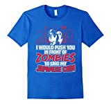 Men's Japanese Chin T-shirt , I would push you in front of zombies 3XL Royal Blue