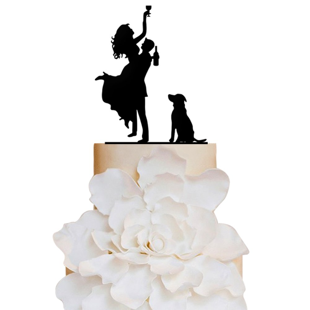 Personalized Cake Toppers Bride and Groom with Wine and Dog Wedding Cake Toppers Wedding Decoration Acrylic Cake Topper for Special Events