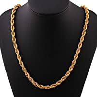 Clearance Deal! Hot Sale! Necklace, Fitfulvan 2018 Men Women Fashion Luxury Filled Curb Cuban Link Gold Necklace Jewelry Chain (Gold)