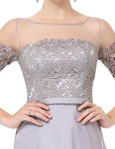 Ever Pretty Robe de soiree longue en demi-manches et le col en lace translucide 38 Gris EP08459GY06