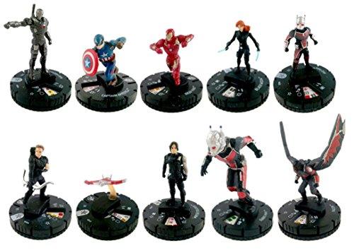 Heroclix Captain America Civil War Miniature Figure Set 1 10 Complete With Cards