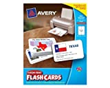 Avery Custom Print Flash Cards, 3 x 5 Inches, for Inkjet and Laser Printers, 100 Pack (04750), Office Central