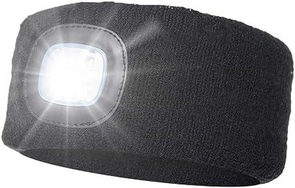 ATNKE LED Sport Bandeau,Rechargeable par USB Ultra-Lumineux 4 Lampe,Elastique Antid/érapant Bandeau Cheveux Sueur Absorbant pour Running Basketball Yoga Cyclisme Fitness