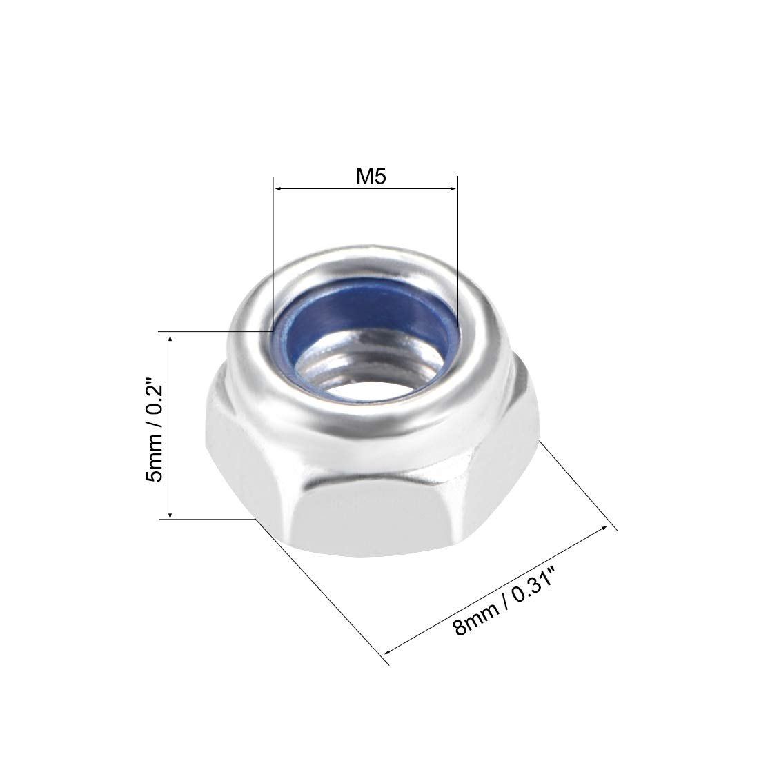 Carbon Steel Black Zinc Plated uxcell M4 x 0.7mm Nylon Insert Hex Lock Nuts Pack of 50