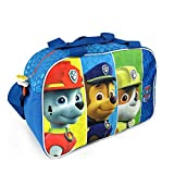 PERLETTI Paw Patrol Kids Duffel Bag - Sport Shoulder Bag with Marshall, Chase & Rubble - Ideal for Travel, Gym and Leisure - Blue - 24x38x18 cm