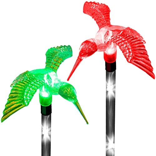 (Solar Garden Hummingbird Stake Lights Charming Outdoor Decor Color Changing LED Garden Feeder Decoration Path Landscape Fairy Walkway Fixture Wedding Birthday Party Thanksgiving Christmas (Set of 2))