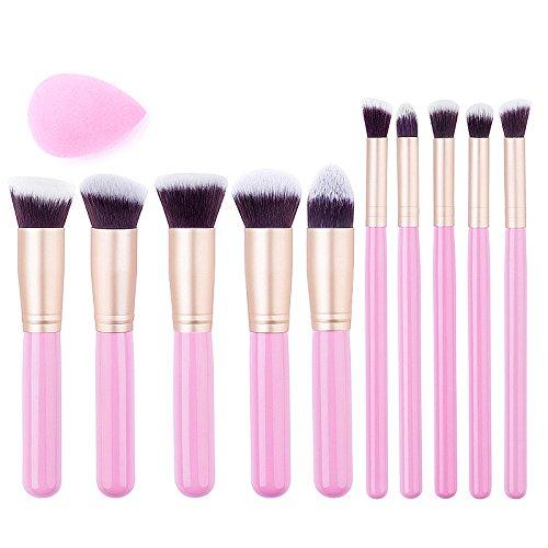 BAWYU Makeup Brush Set Premium Makeup Brush Set Eyeliner Face Powder Lip Brush Synthetic Makeup Brush With Makeup Blander(10pcs, Golden Black,Pink,White) - Queen Of Hearts Make Up