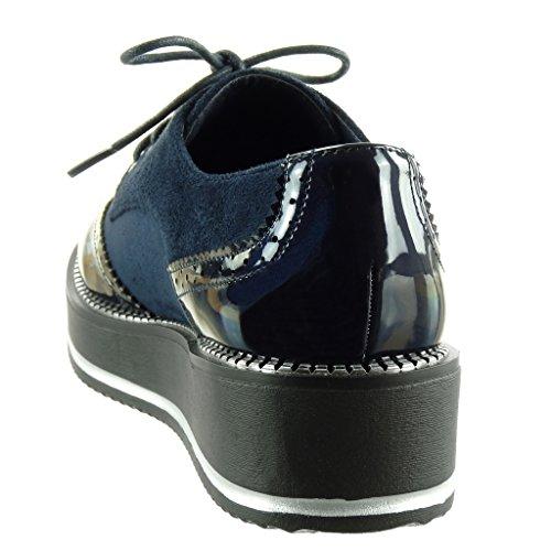matière Verni Plateforme Femme Bleu Angkorly 4 Derbies Bi Compensé Talon Zip Mode Chaussure Perforée 5 Fermeture Cm wXxntqHz4