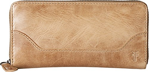 FRYE Women's Melissa Zip Around Leather Wallet, Sand, One Size