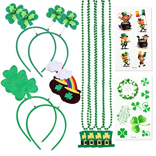 St. Patrick's Day Accessories Set Party Favor-St Patrick Shamrock Headband,Pot of Gold Head Bopper,Bead Necklace with Leprechaun Hat,Temporary Tattoos,28 Pcs for Costume Supplies Accessory Decoration ()
