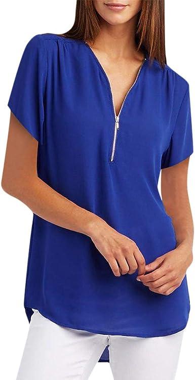 Camiseta Mujer Verano Moda Color sólido Manga Corta Blusas Camisa ...