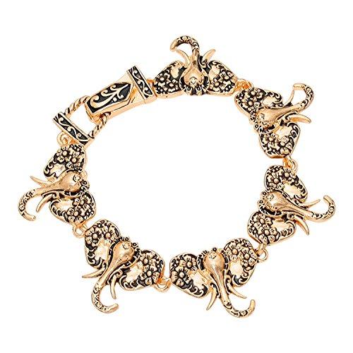 Elephant Heads Bangle Bracelet with Magnetic Clasp (Gold (Delta Elephant)