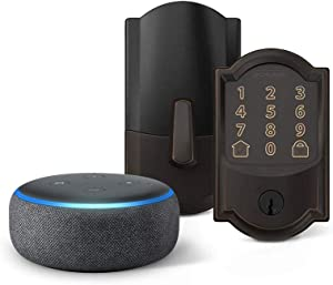 Encode Smart Wifi Deadbolt with Camelot Trim In Aged Bronze Echo Dot (3rd Gen) Charcoal