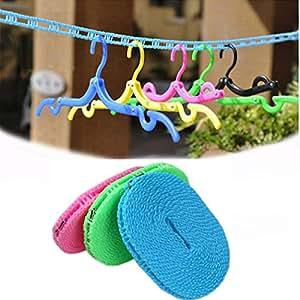 botrong color al azar Portable al aire libre viaje negocios anti-resbalo tendedero línea de lavado de ropa cuerda