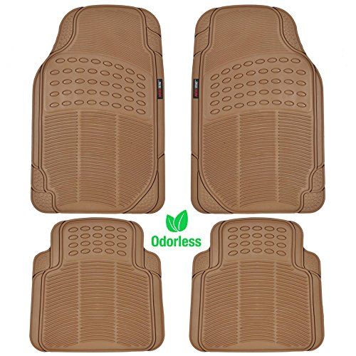 (Motor Trend FlexTough Heavy Duty Car Floor Mats - 4 PC 100% Odorless & All Weatherproof (Beige))